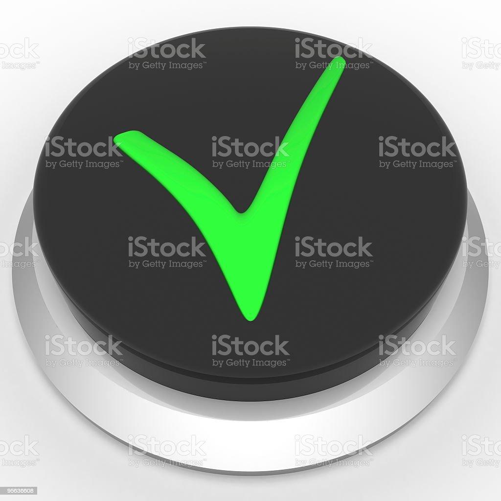 Button whit a check mark stock photo