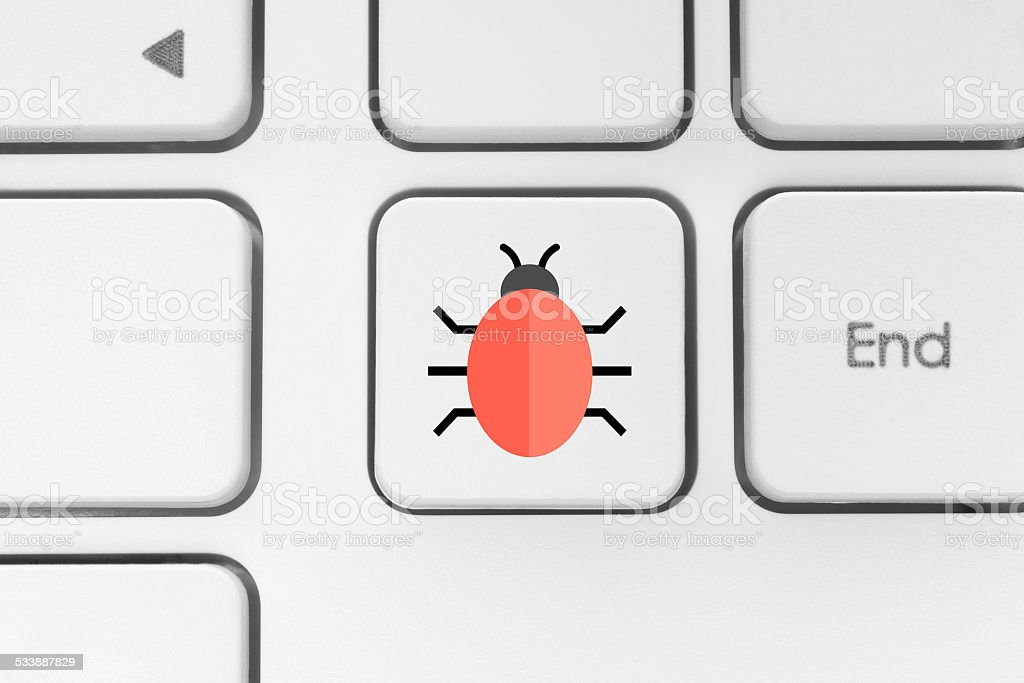 Button with a bug stock photo