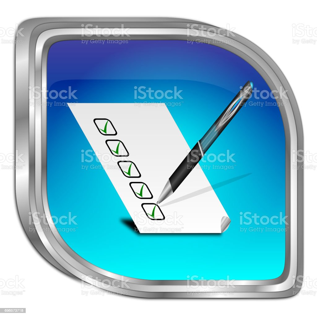 Button with check list - 3D illustration stock photo