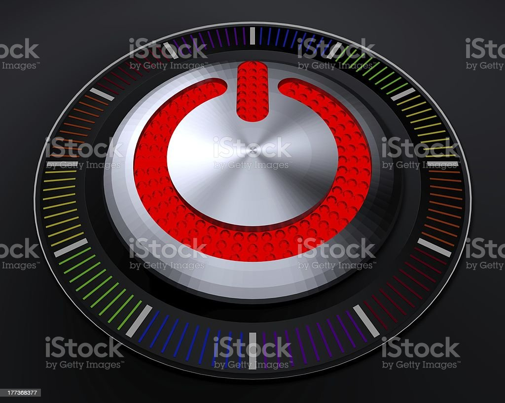 STOP Button with Glowing Red Lights on Dark Console stock photo