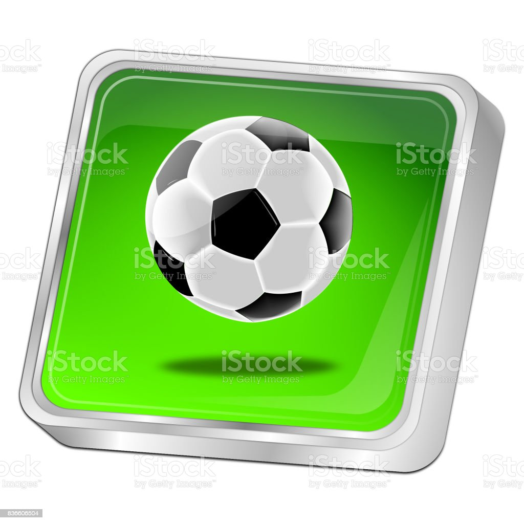 Button with Soccer ball - 3D illustration stock photo