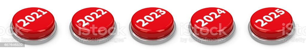 Buttons - 2021 2022 2023 2024 2025 stock photo