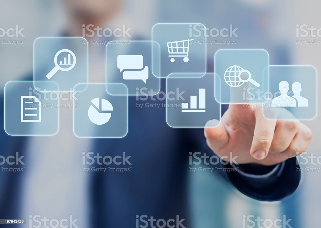 Buttons about internet technologies stock photo