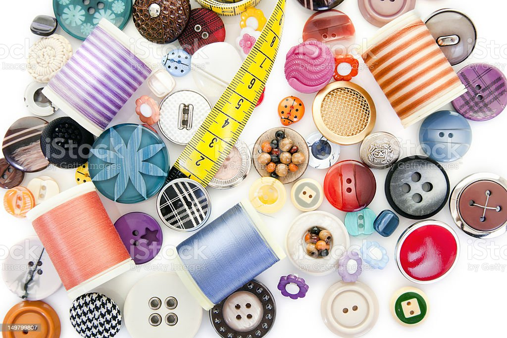 Buttons And Sewing Items royalty-free stock photo