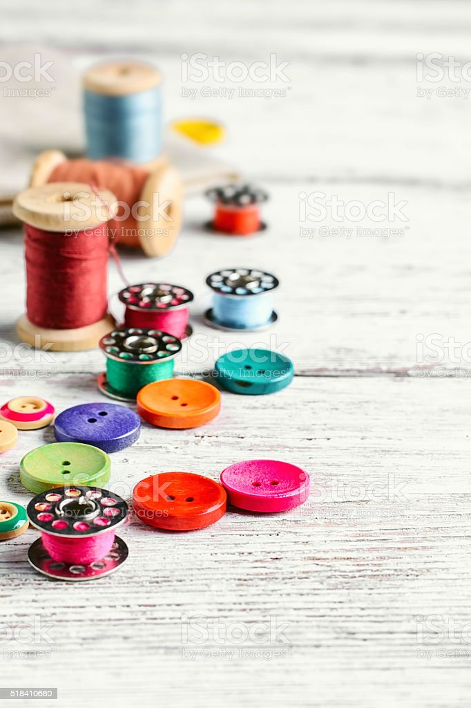 Buttons and thread. stock photo
