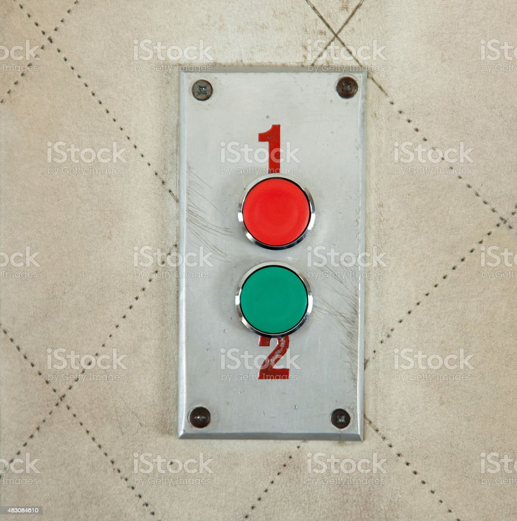 buttons numbered 1 and 2 stock photo