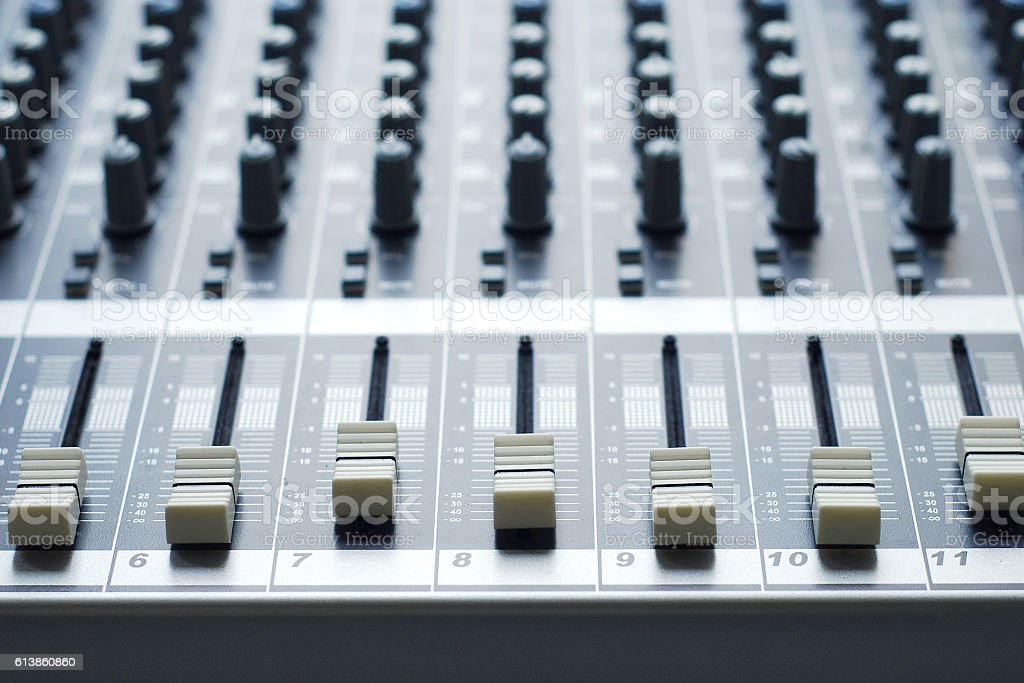 buttons of auido mixer board stock photo