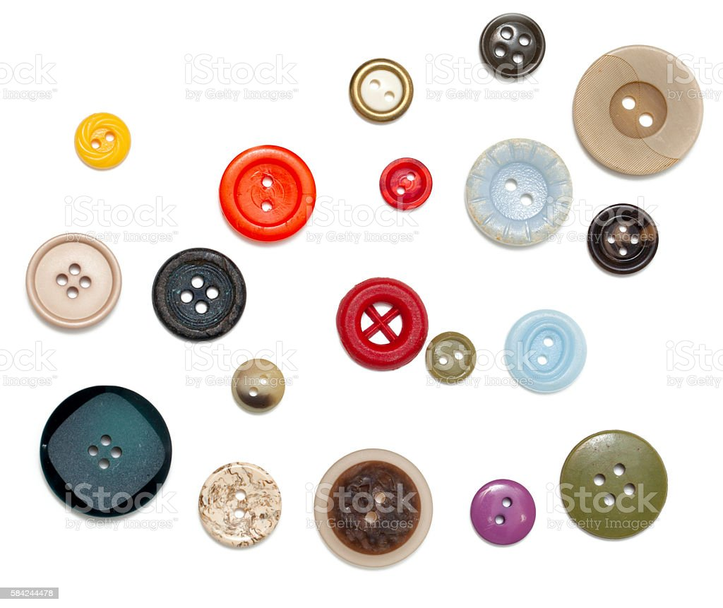 buttons of different size, shape and color stock photo