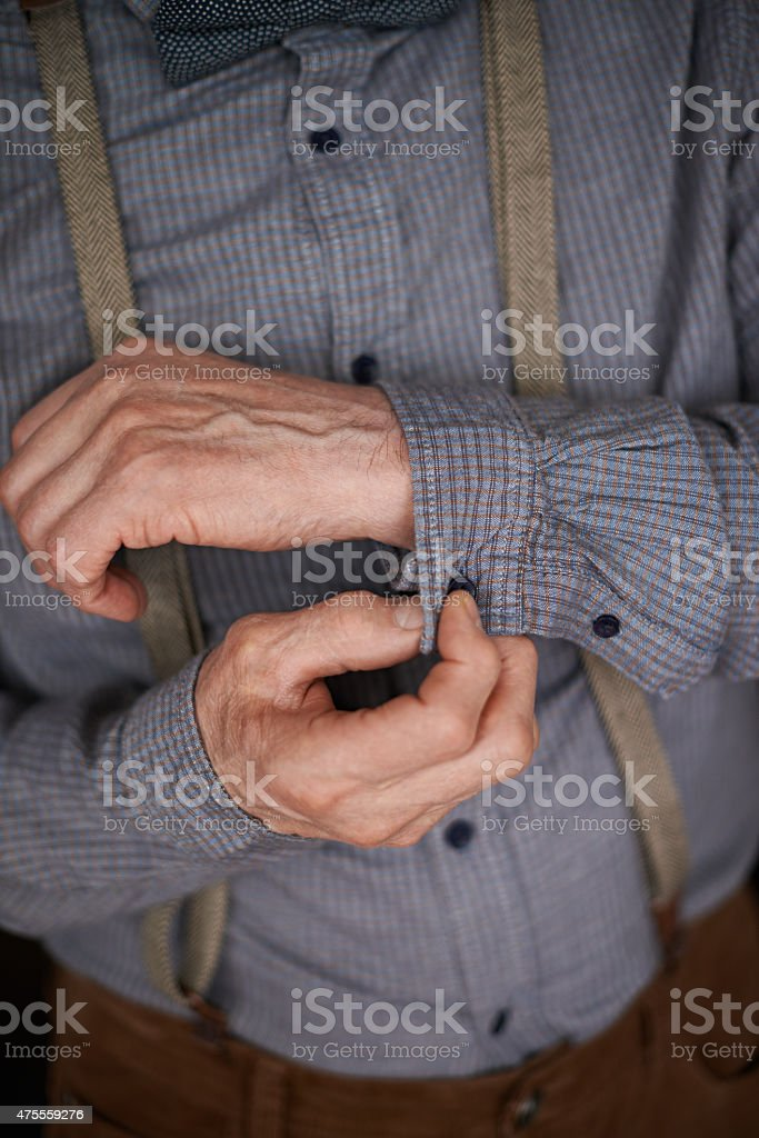 Buttons on sleeve stock photo