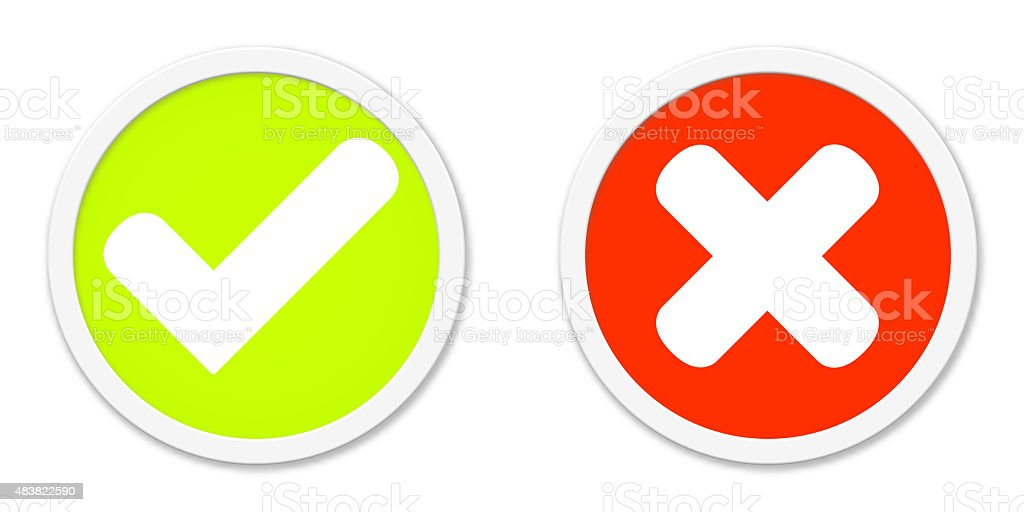 Buttons Red Green agree or disagree stock photo