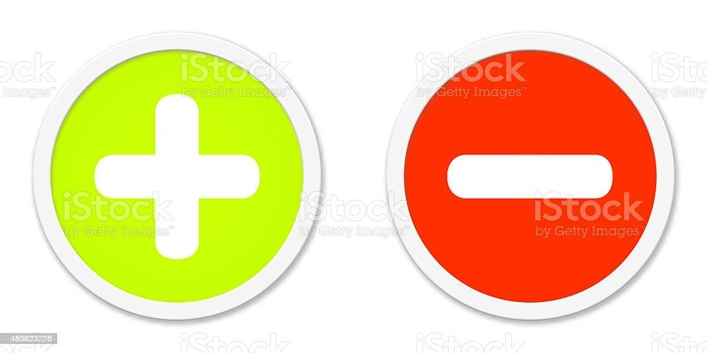 Buttons red green plus and minus stock photo