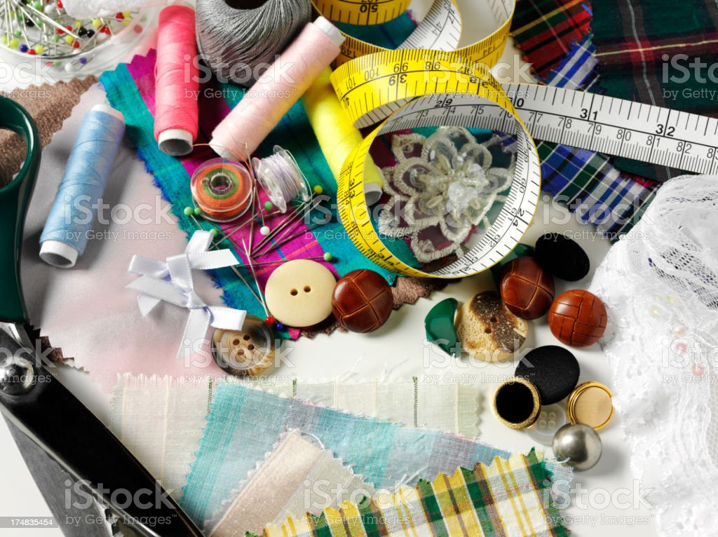 Buttons with Tape Measure and Haberdashery royalty-free stock photo