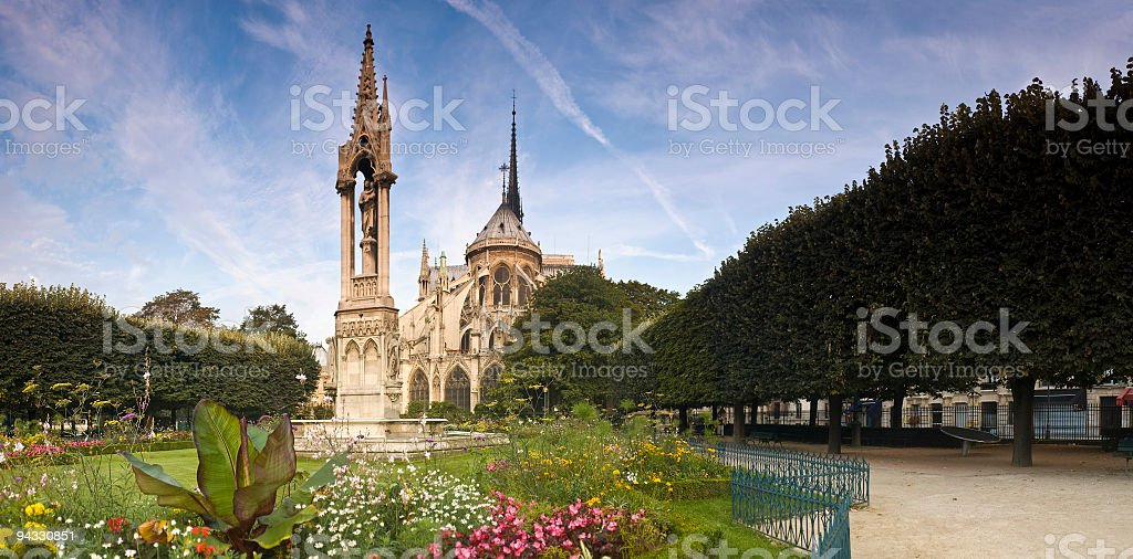 Buttresses of Notre Dame, Paris royalty-free stock photo