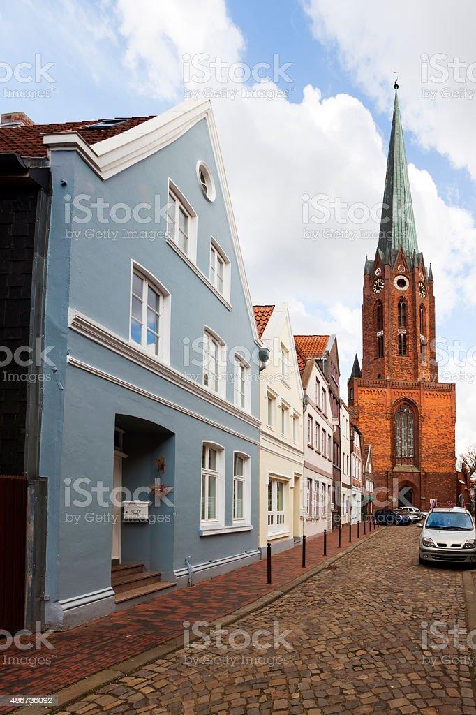Buxtehude, church and historic facades stock photo