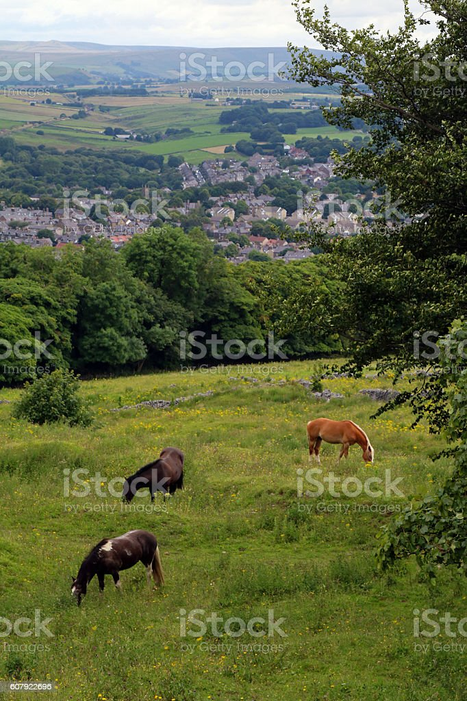 Buxton from the hills stock photo
