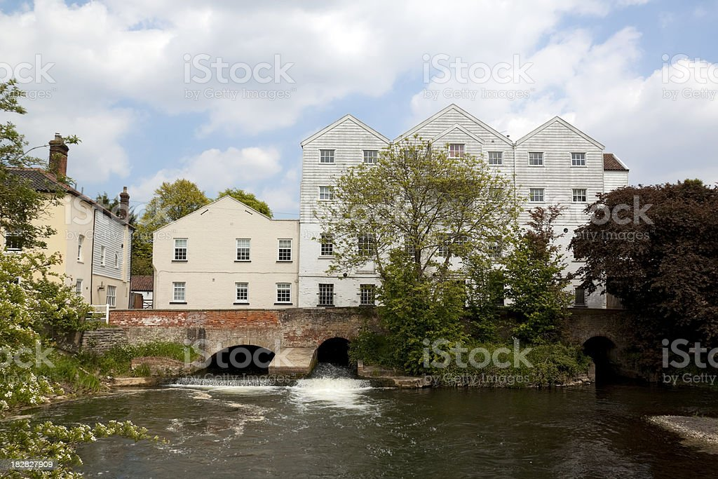 Buxton Mill and River Bure, Norfolk stock photo