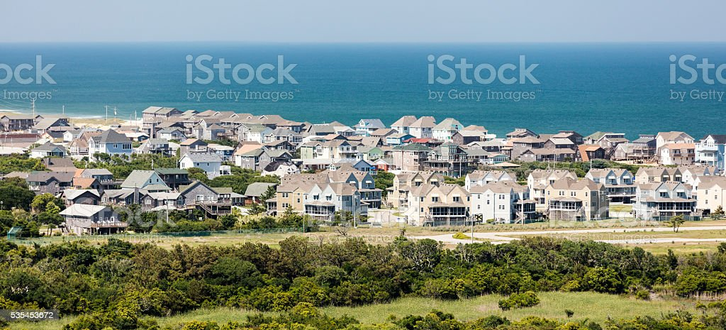Buxton, NC. Crowed, overbuilt Outer Banks beach town stock photo