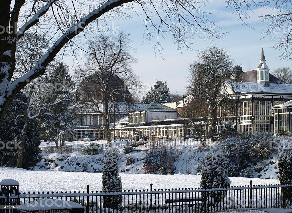 Buxton Park Pavilion in the Snow stock photo