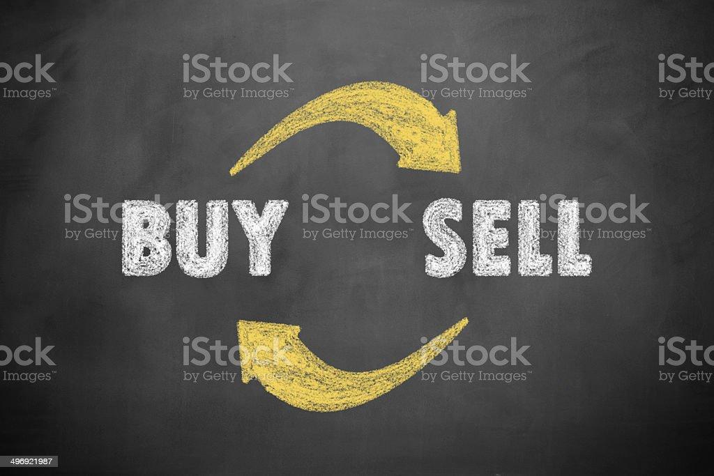 Buy and Sell on blackboard stock photo