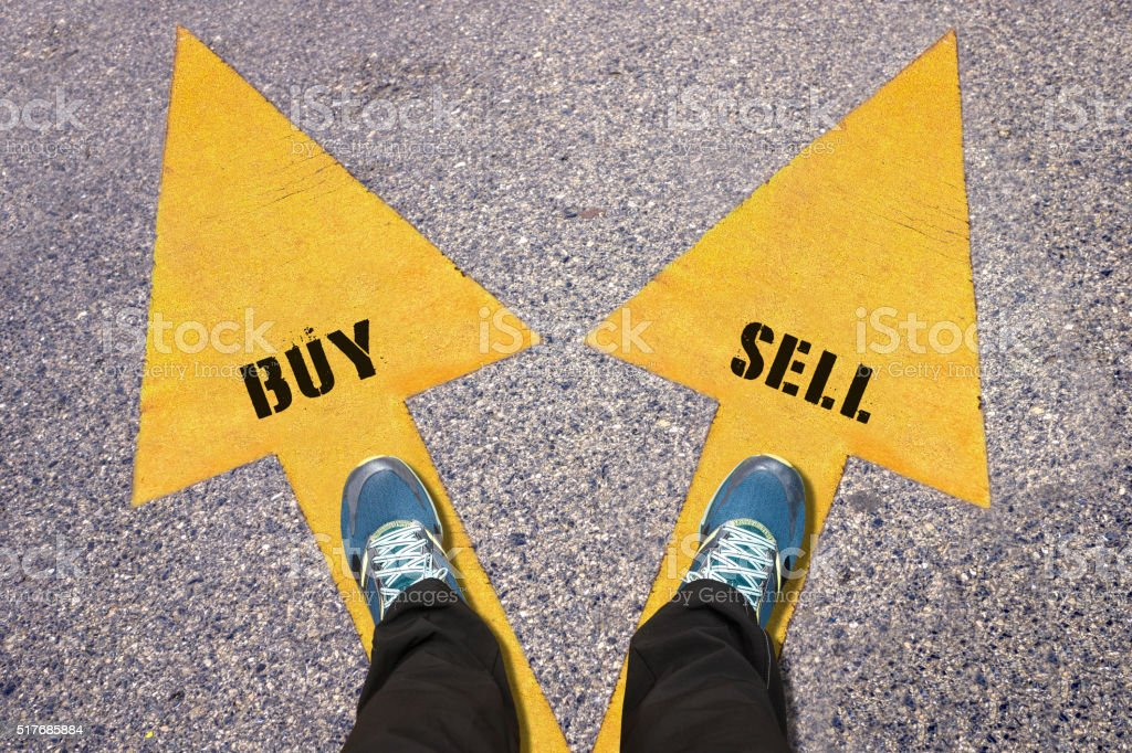 Buy and Sell  painted on road stock photo