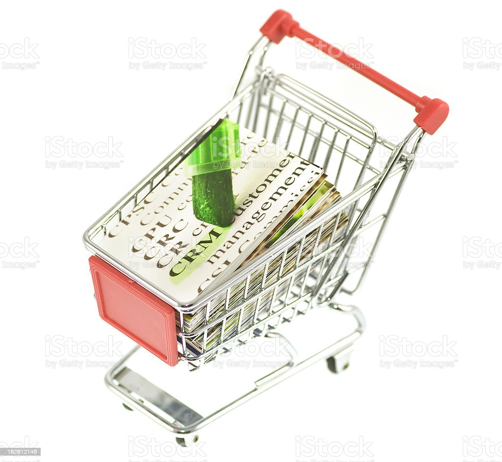 Buy CRM solutions in shopping cart stock photo