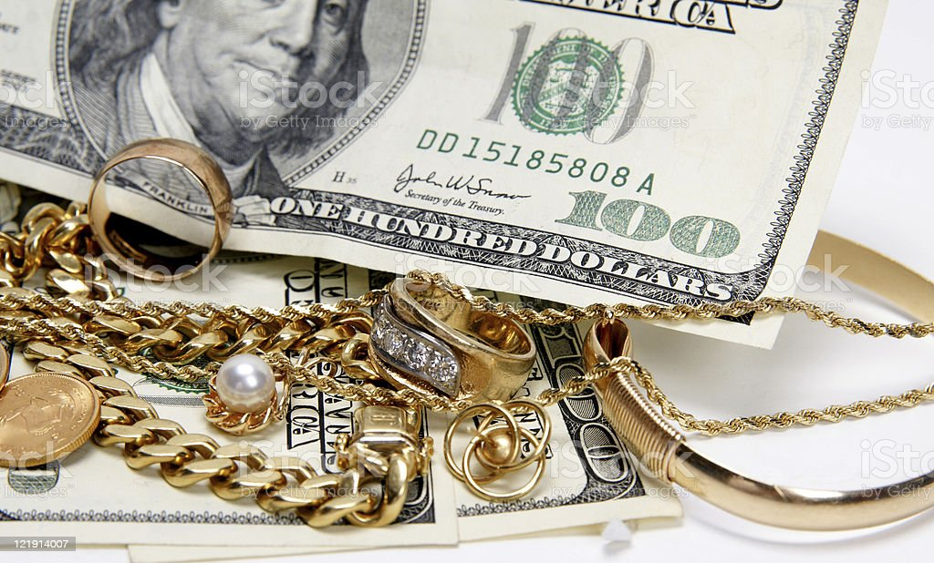 I buy gold jewelry royalty-free stock photo