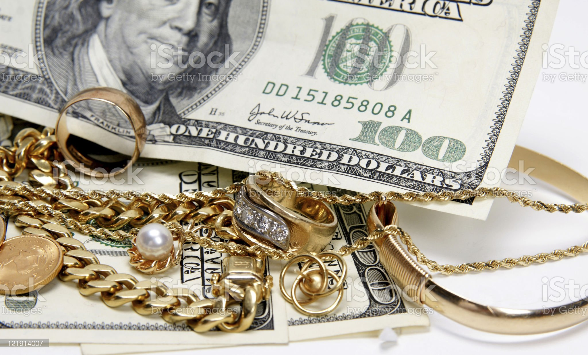 I buy gold jewelry royalty-free stock photo