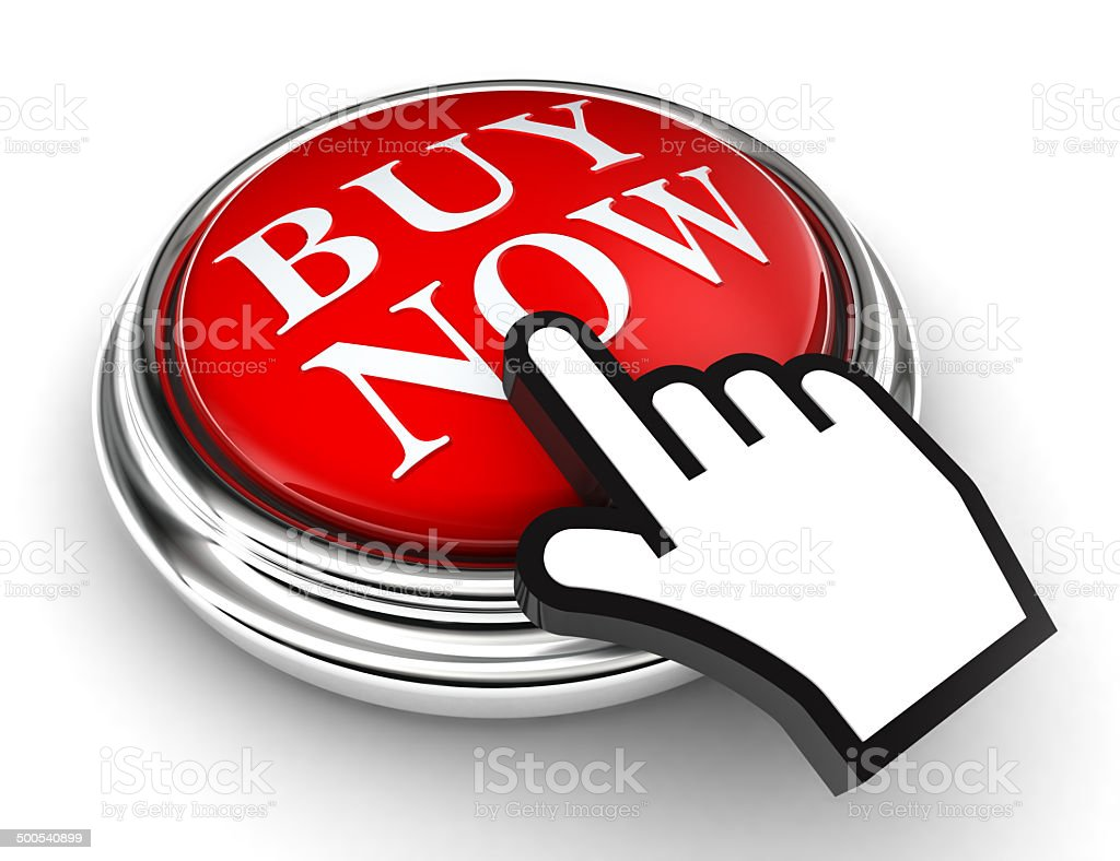 buy now red button and pointer hand stock photo