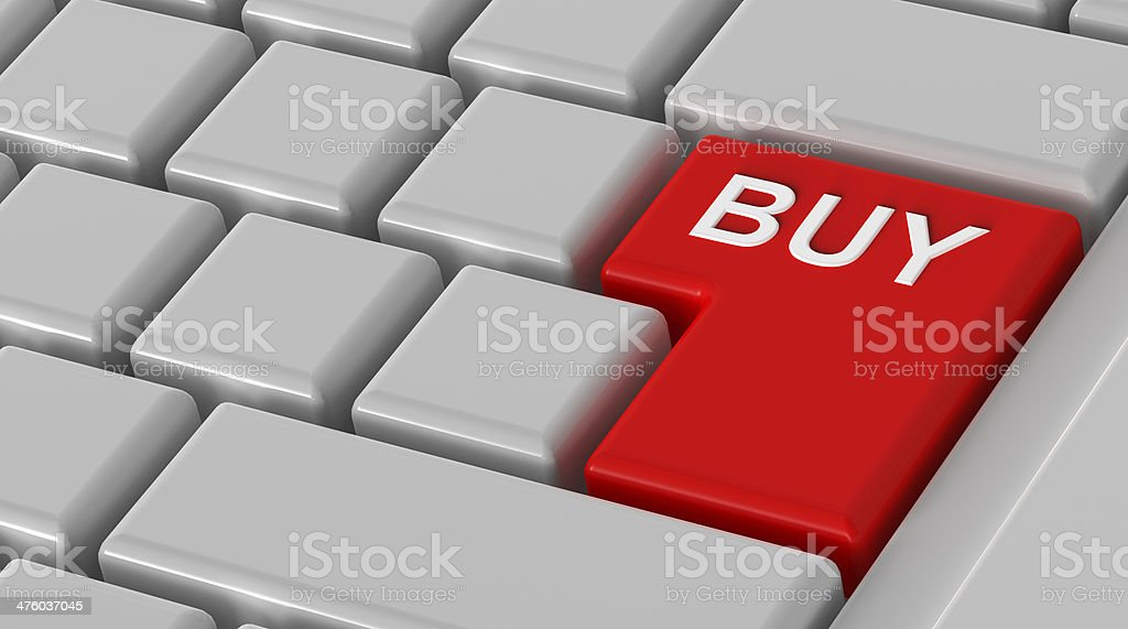 Buy now - red key computer keyboard. stock photo