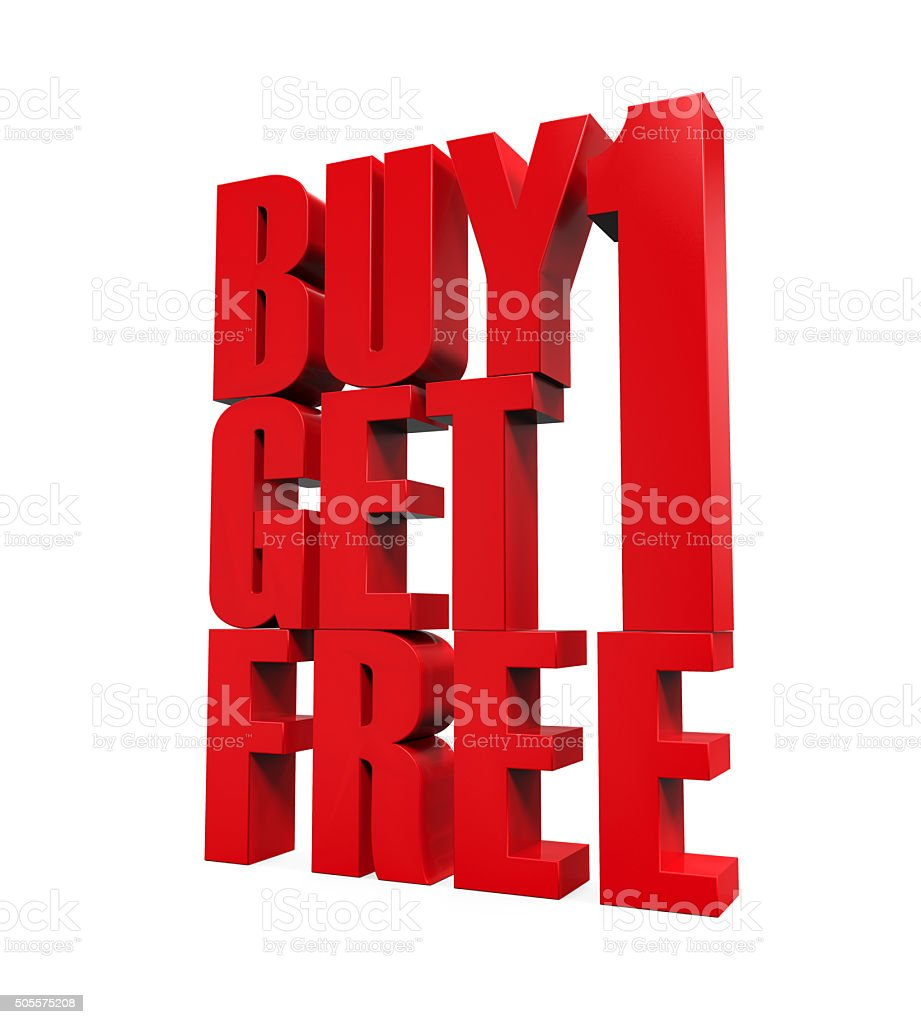 Buy One Get One Free Text stock photo