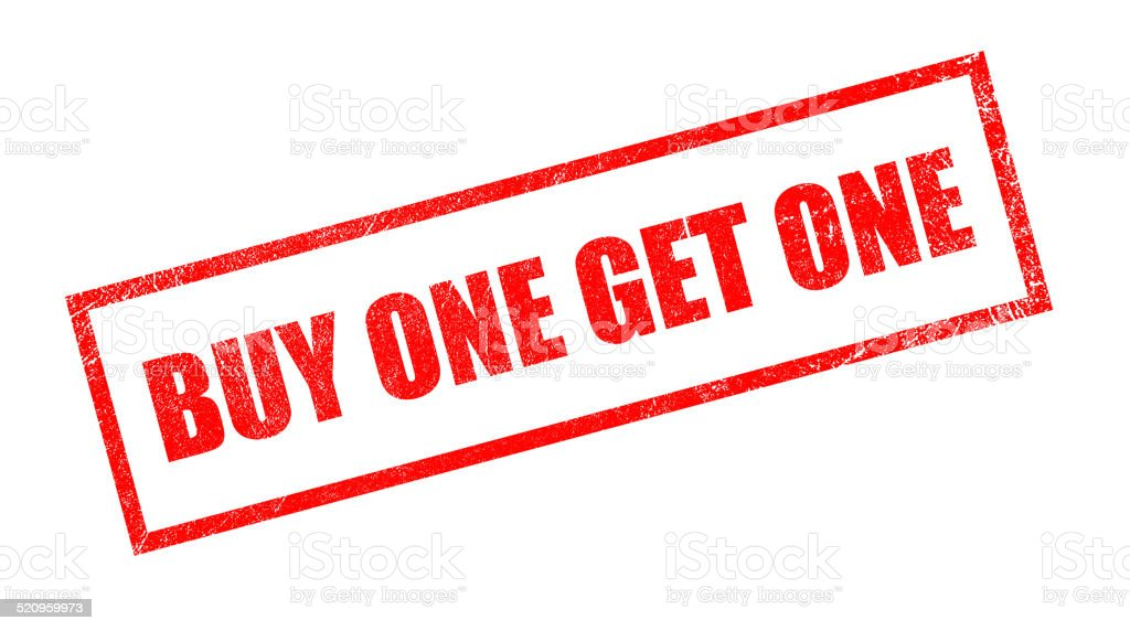 Buy One Get One Rubber Stamp stock photo