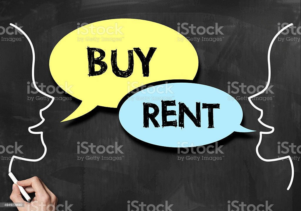 Buy or Rent / Blackboard concept (Click for more) stock photo