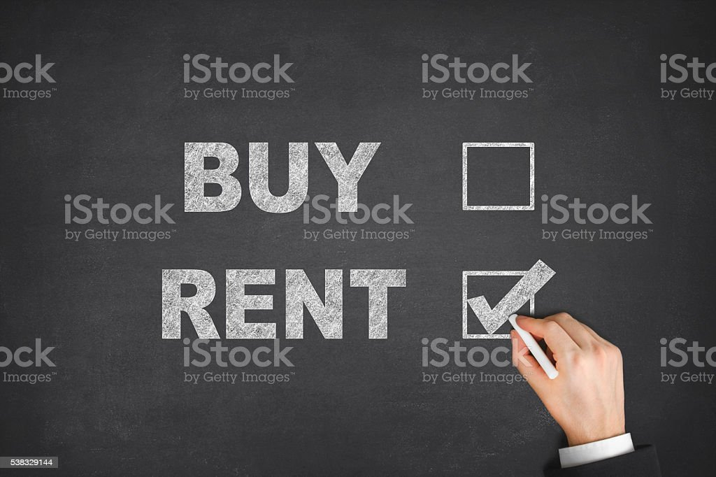 Buy or Rent on Blackboard stock photo