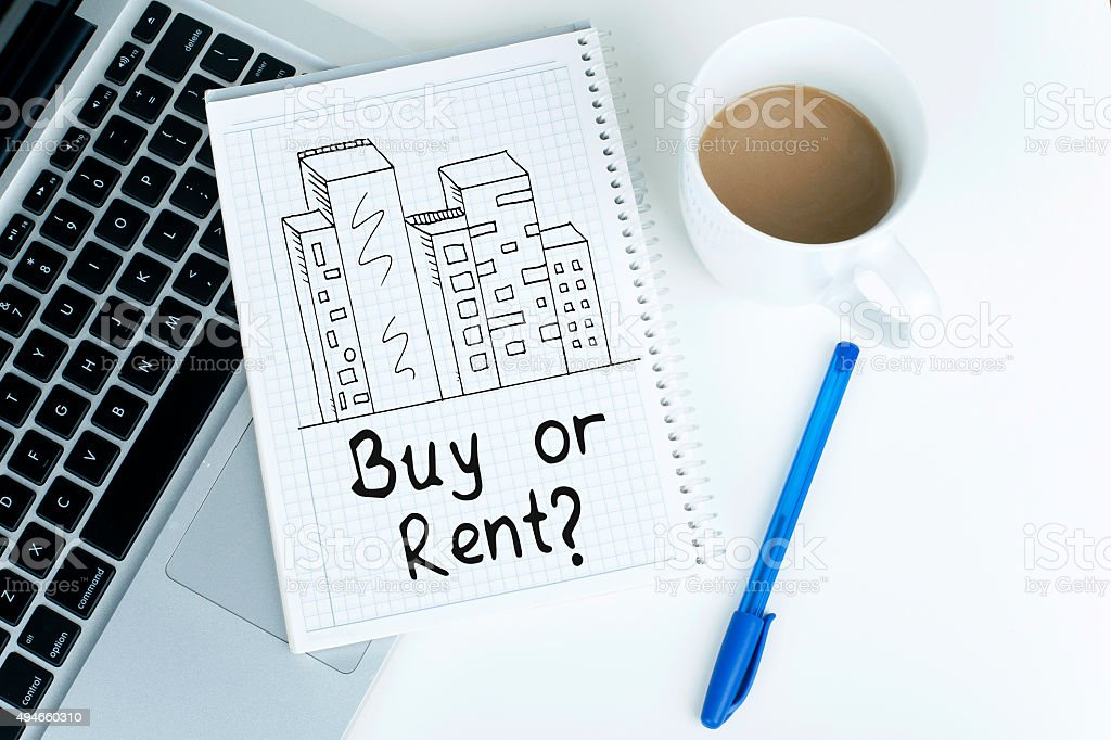Buy or rent real estate property concept stock photo
