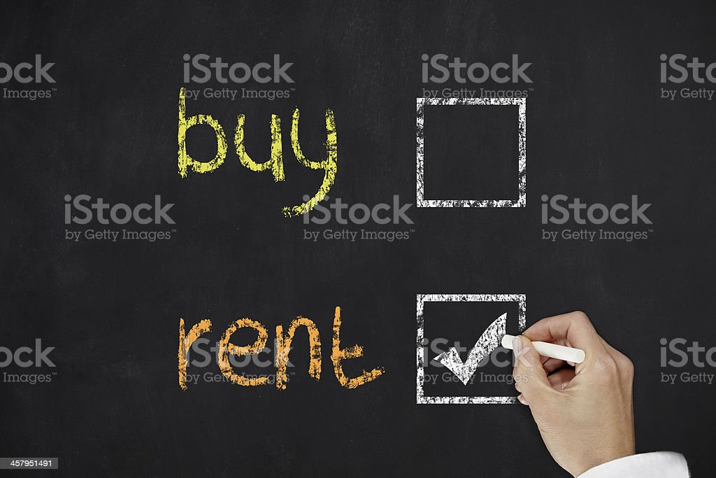 A buy or rent tick chart on a board royalty-free stock photo