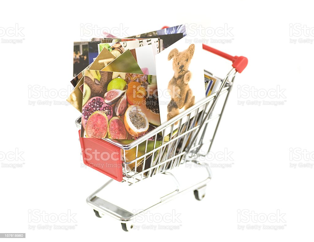Buy pictures in shopping cart stock photo