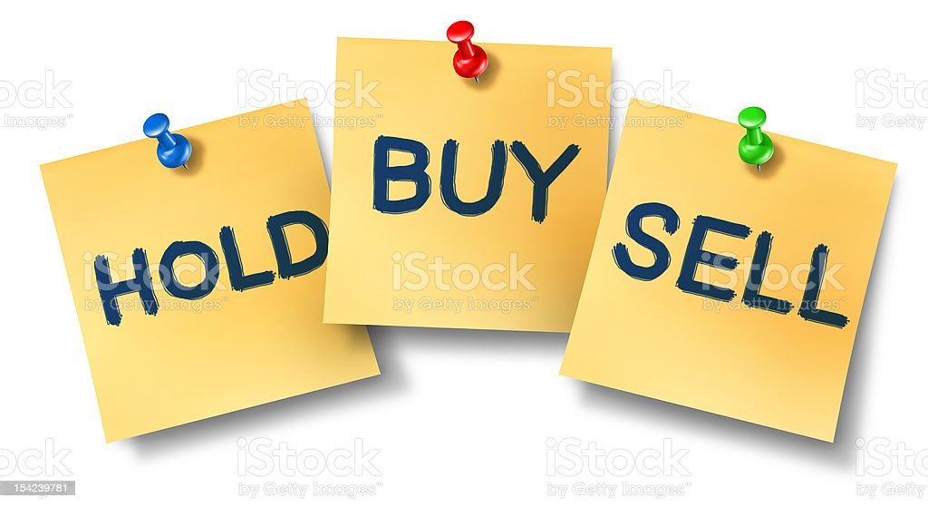 Buy sell hold office notes stock photo