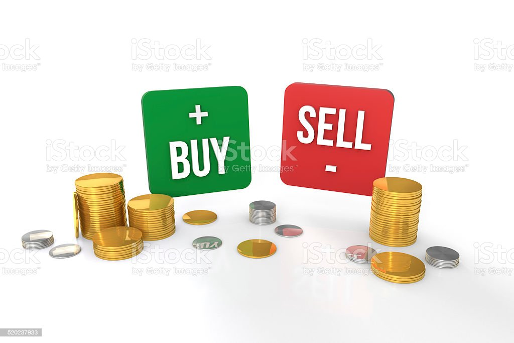 Buy & Sell icons with gold and silver coins stock photo