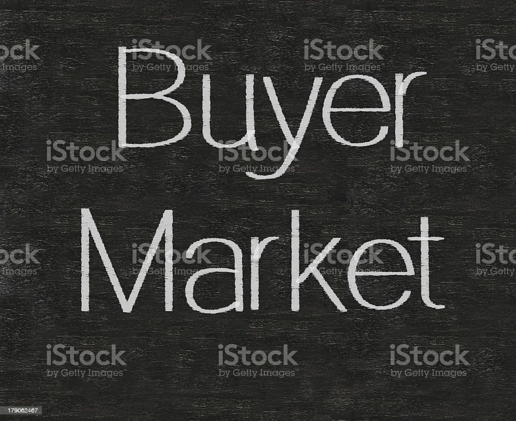 buyer market marketing terms written on blackboard background high resolution royalty-free stock photo