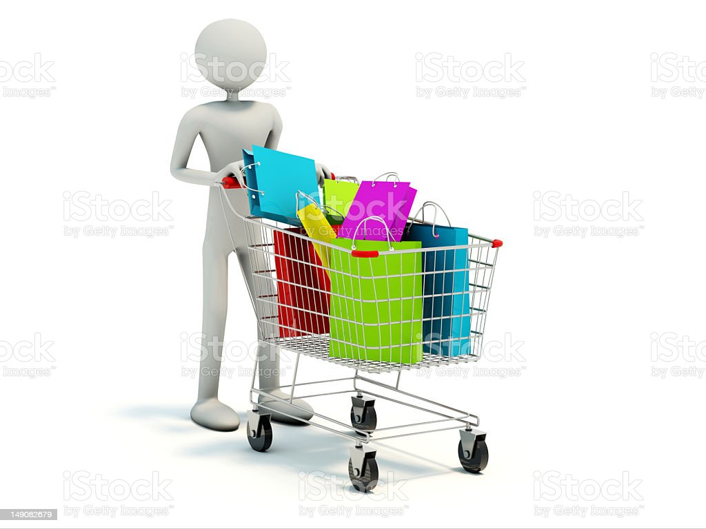 Buyer with full shopping cart royalty-free stock photo