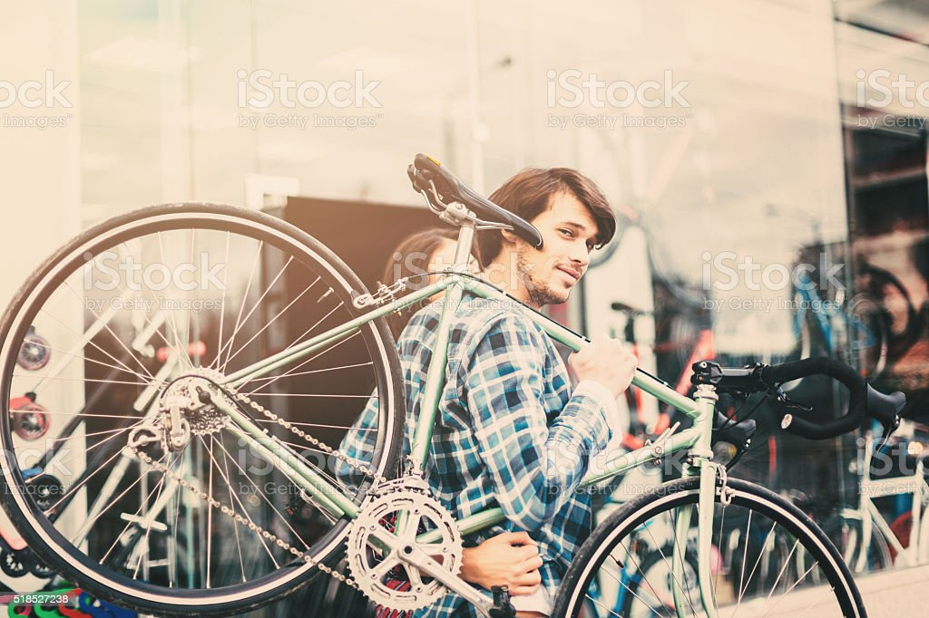 Buying A Bicycle stock photo