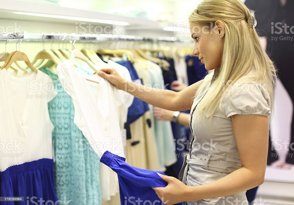 Buying a dress. royalty-free stock photo