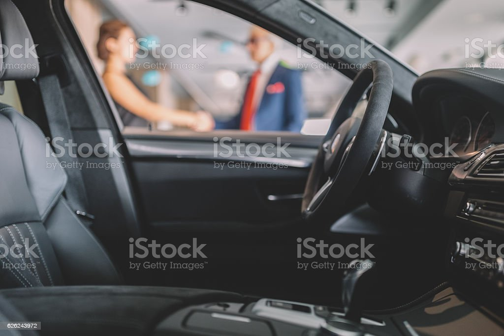 Buying a new car stock photo