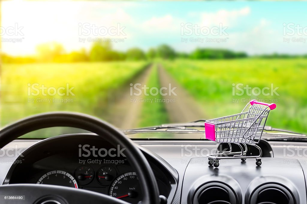 Buying a new car. The view from the car salon. stock photo
