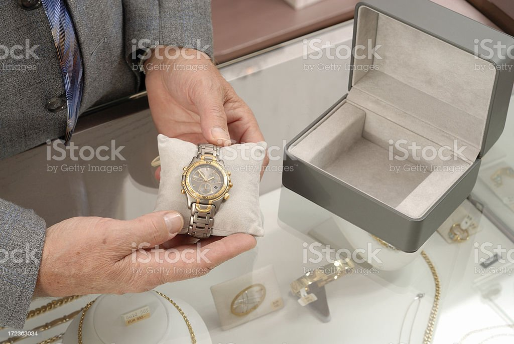 Buying a wristwatch stock photo