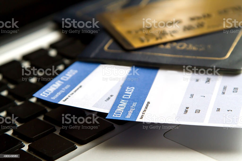 Buying Airline tickets stock photo