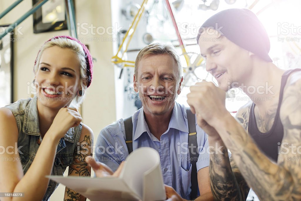 Buying an Antique Bicycle stock photo