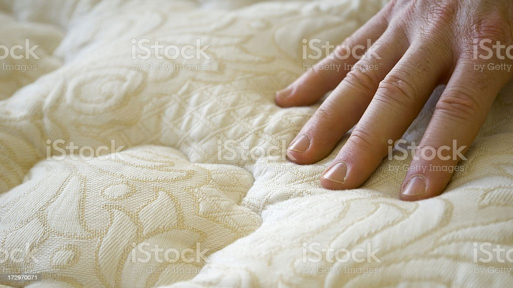 Buying Bed Mattress & Sofa, Hand Touching Furniture in Store, Shopping stock photo
