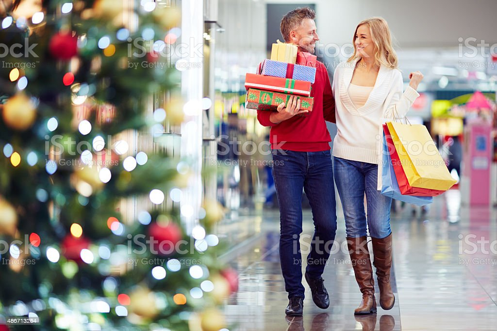 Buying Christmas gifts stock photo