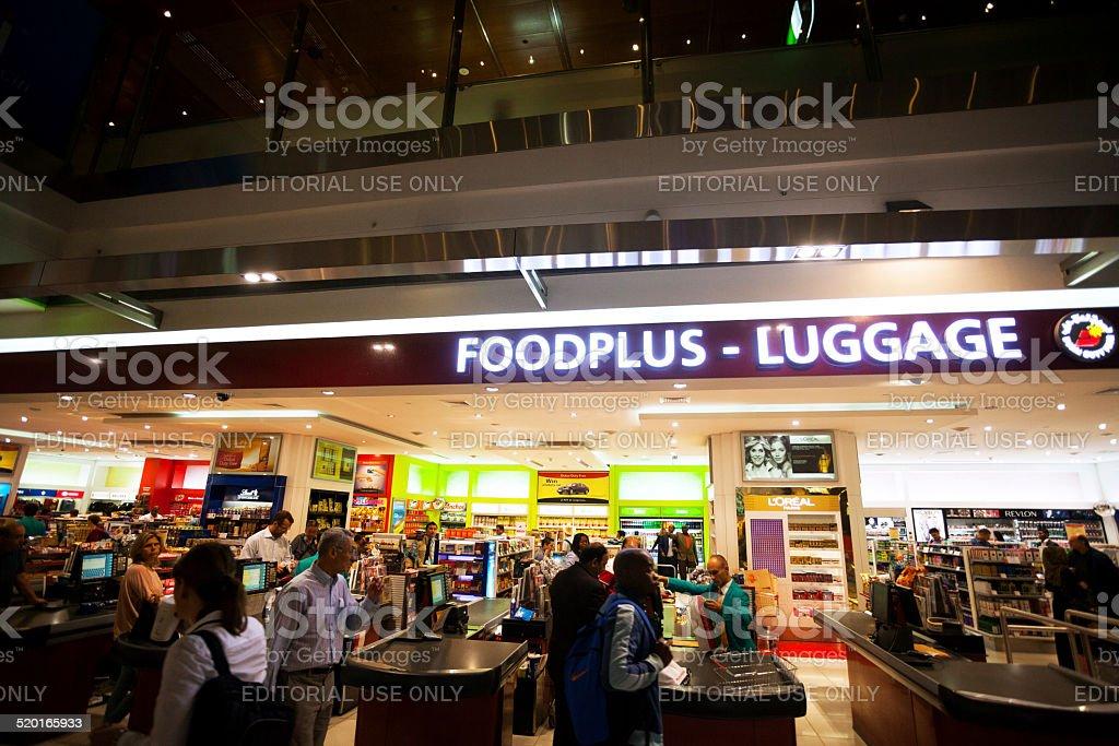 Buying duty free food stock photo